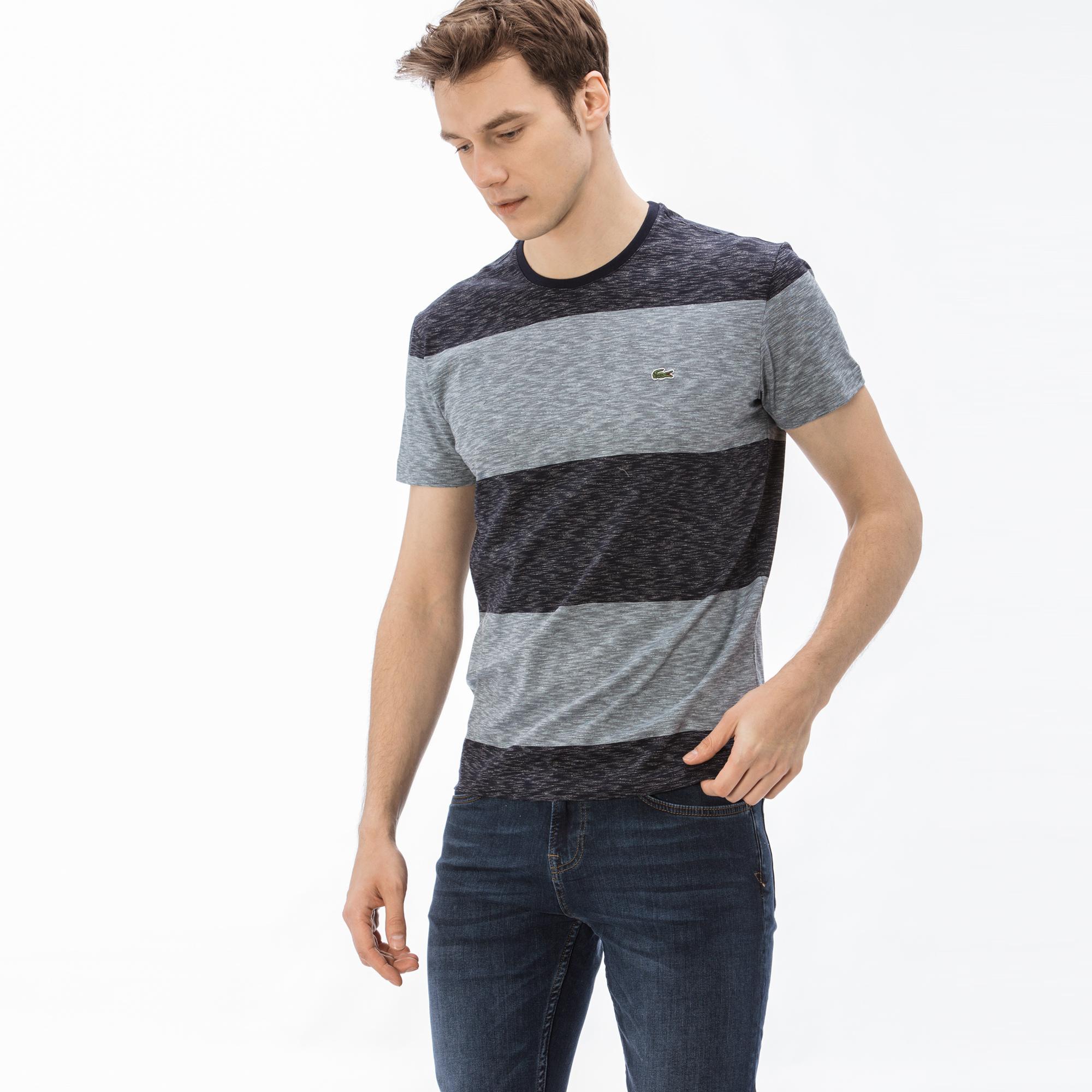 Lacoste Erkek Regular Fit Mavi - Lacivert Renk Bloklu T-Shirt