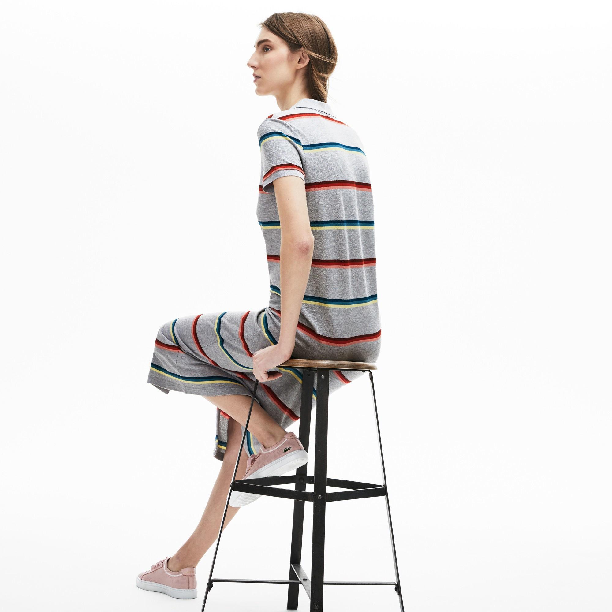 Lacoste Kadın Çizgili Polo Yaka Renkli Çizgili Gri Elbise
