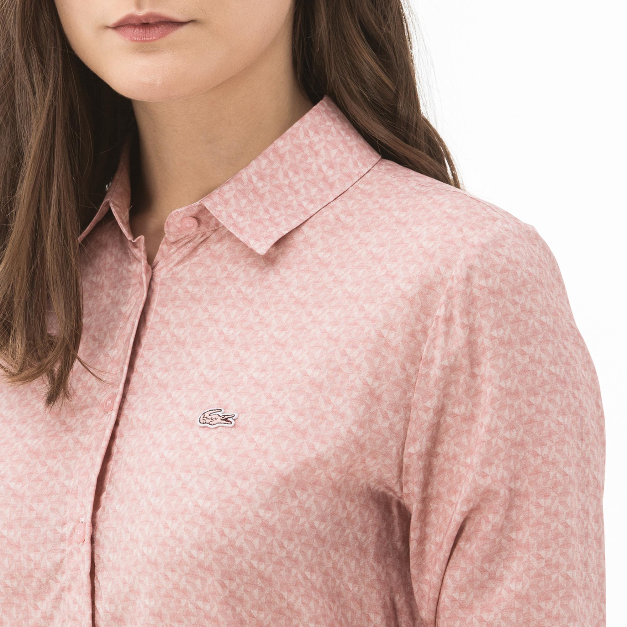 Lacoste Kadın Desenli Pembe Gömlek