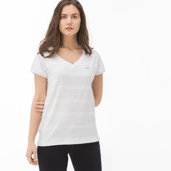 Lacoste Kadın Çizgili V Yaka Beyaz T-Shirt
