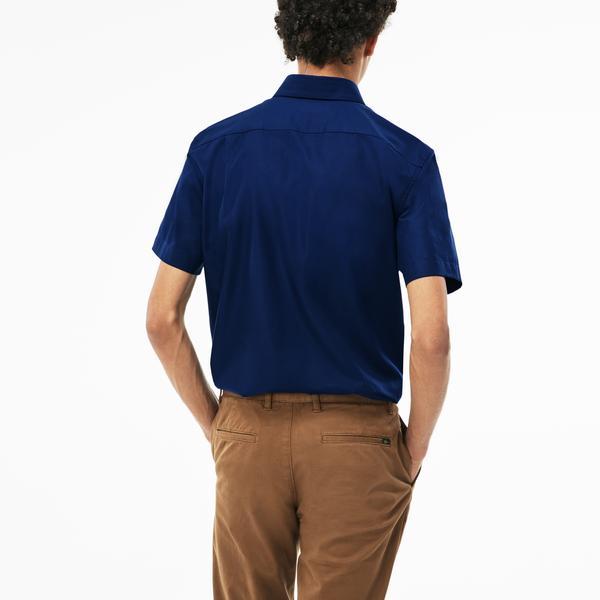 Lacoste Erkek Klasik Fit Lacivert Kısa Kollu Gömlek