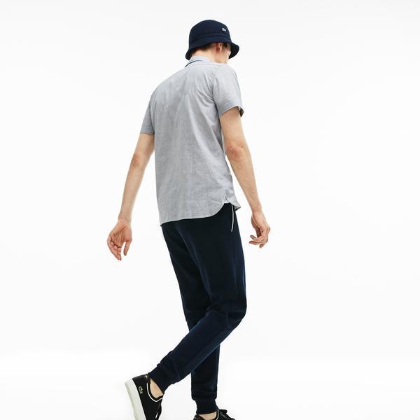 Lacoste Erkek Slim Fit Gri Blok Çizgili Kısa Kollu Gömlek