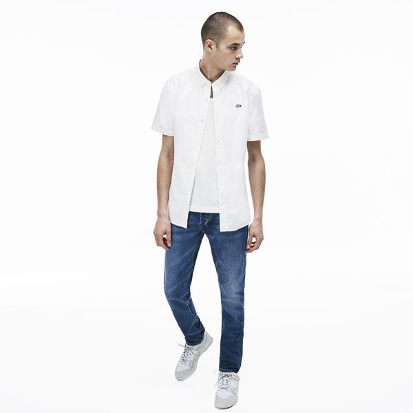 Lacoste L!ve Erkek Skinny Fit Beyaz Kısa Kollu Gömlek