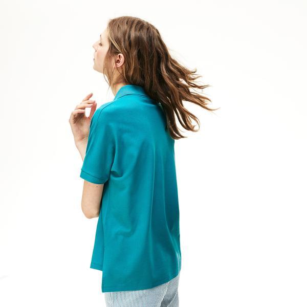 Lacoste Kadın Relax Fit Mavi Polo
