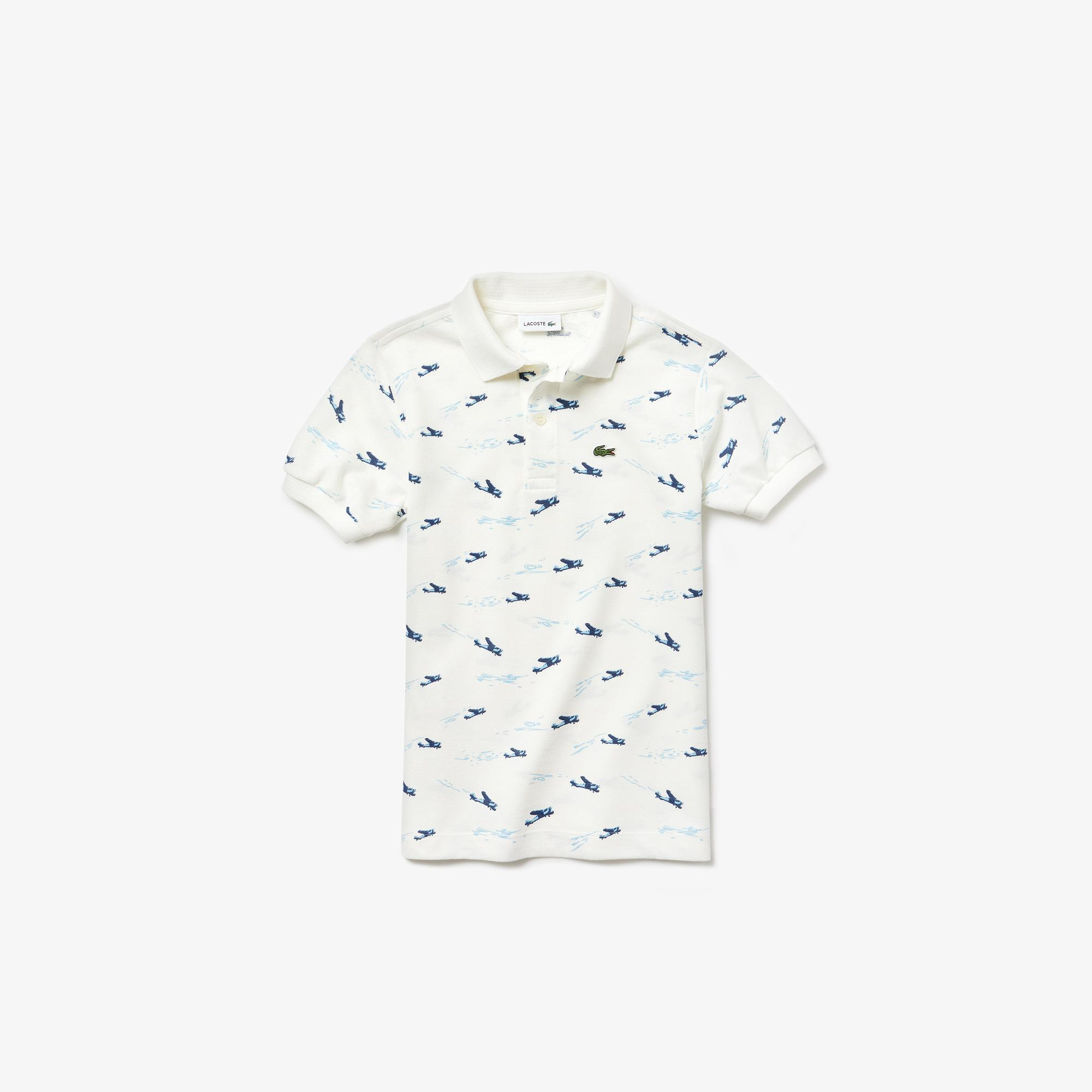 Lacoste Çocuk Desenli Beyaz Polo