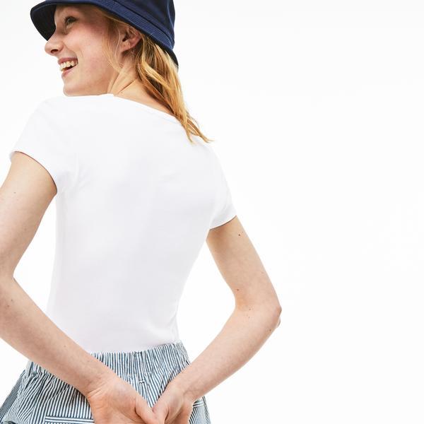 Lacoste Kadın Lacoste Baskılı Beyaz T-Shirt