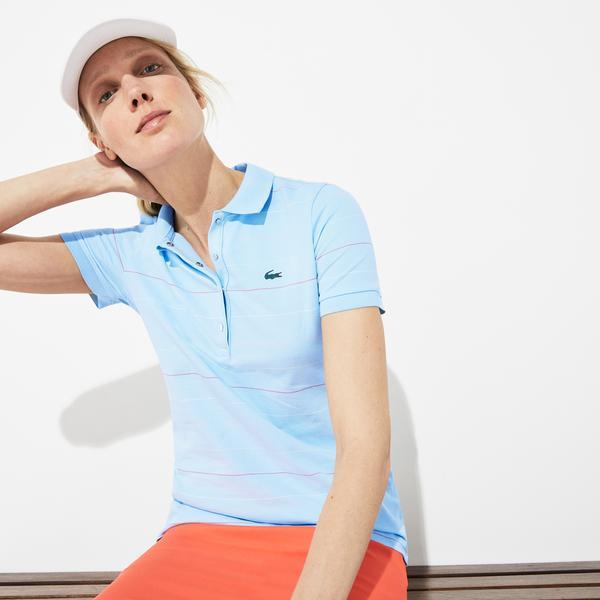 Lacoste Kadın Çizgili Desenli Mavi Polo
