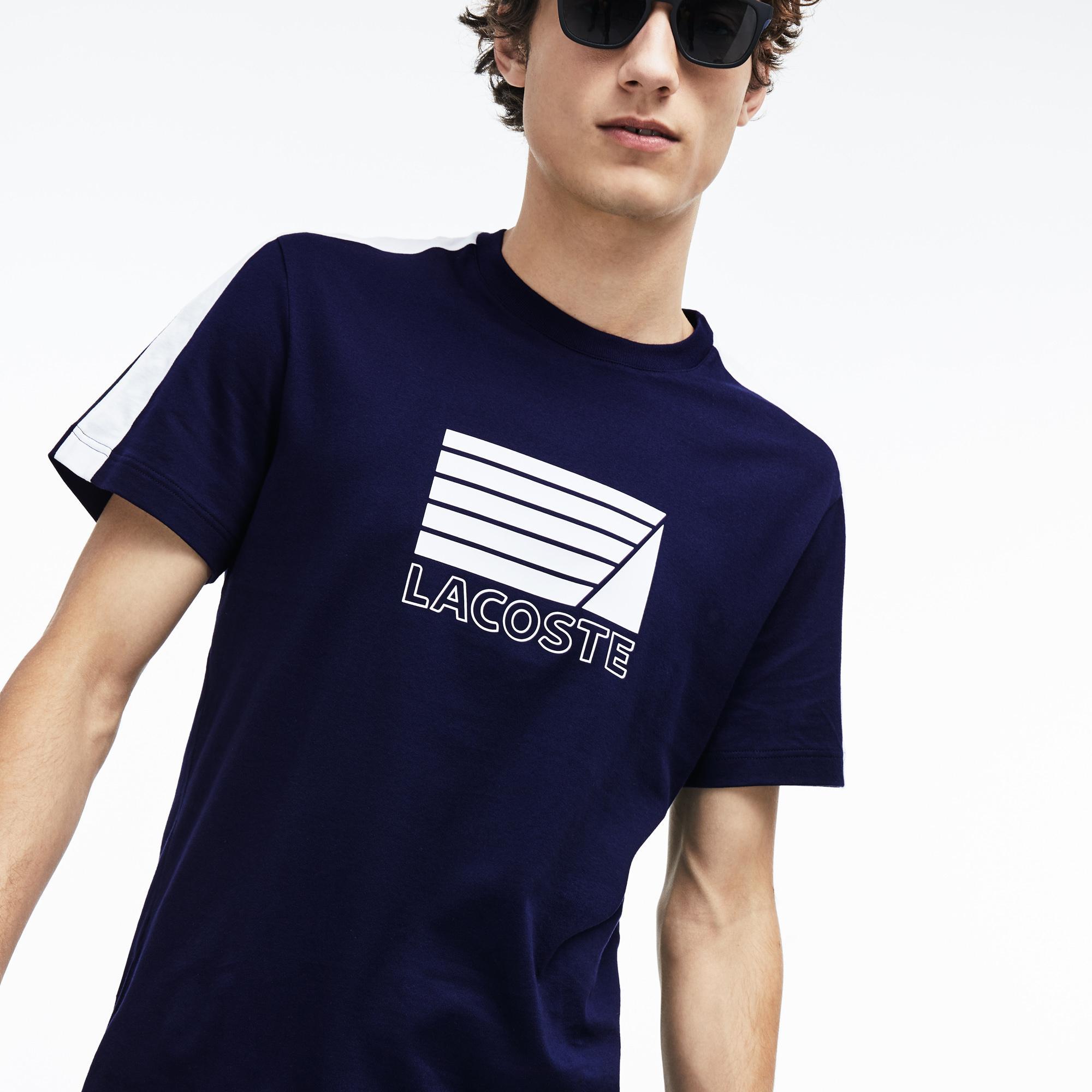 Lacoste Erkek Regular Fit Baskı Desenli Beyaz - Lacivert Renk Bloklu T-Shirt