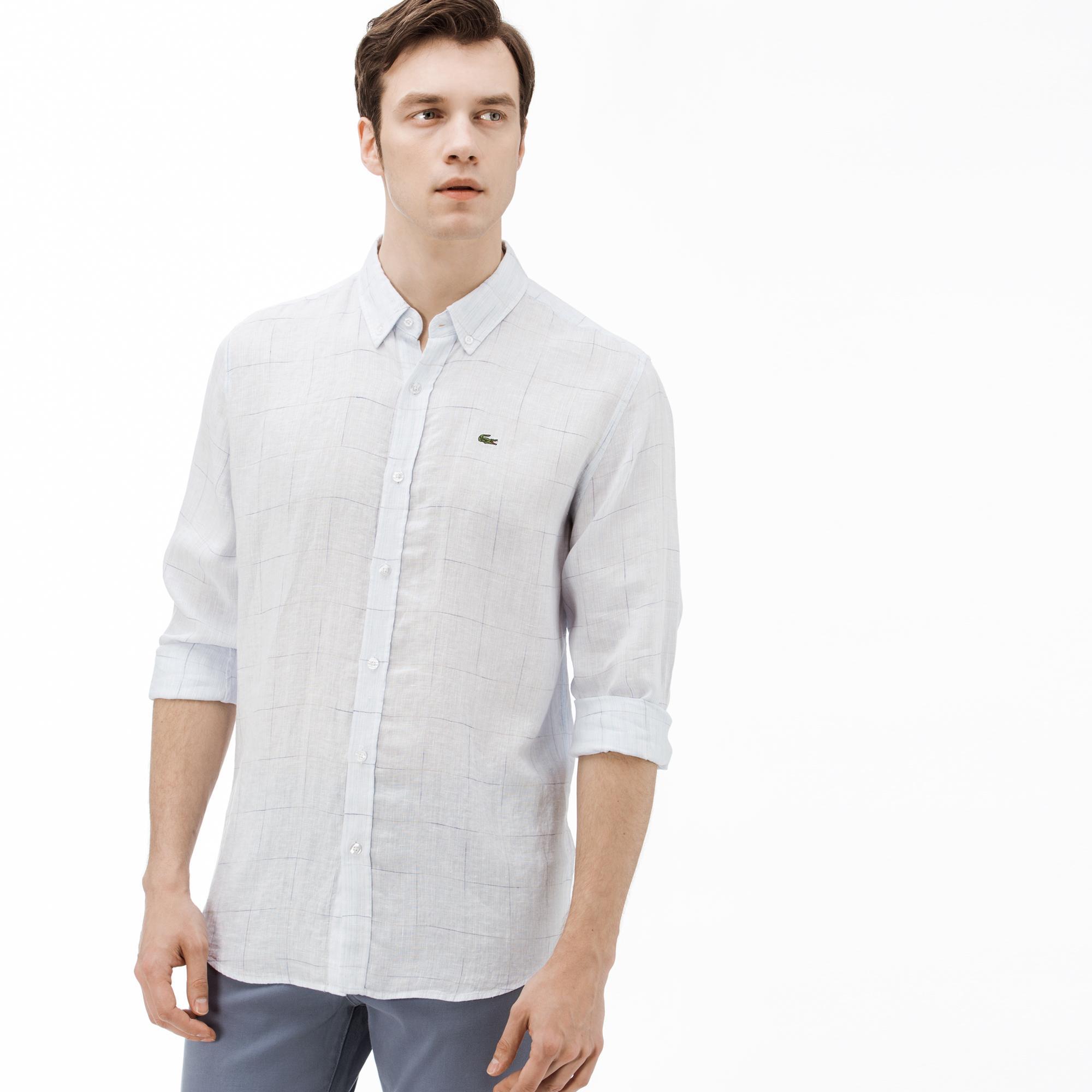 Lacoste Erkek Regular Fit Açık Mavi Ekose Gömlek