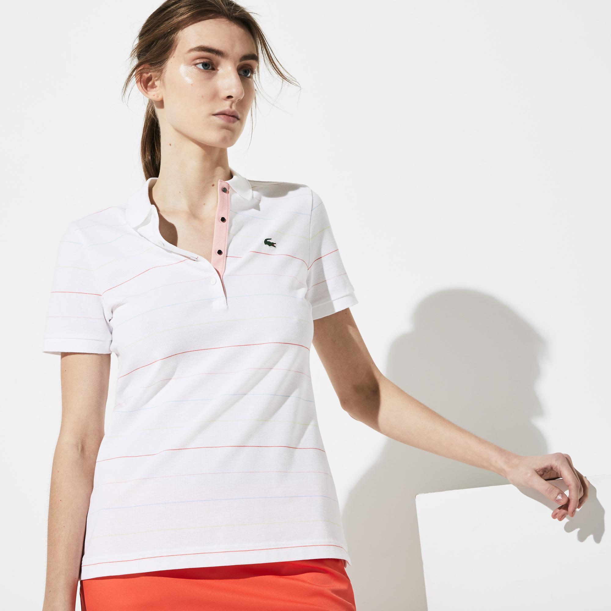 Lacoste Kadın Çizgili Beyaz Polo