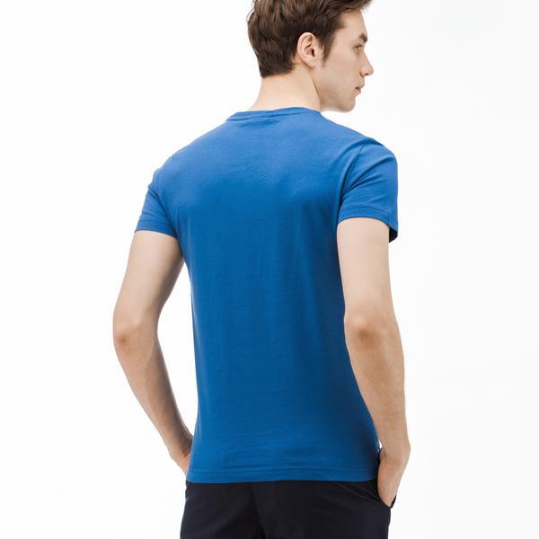Lacoste Erkek Desenli Mavi T-Shirt