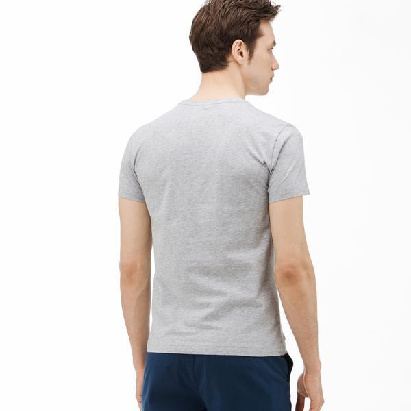 Lacoste Erkek Desenli Gri T-Shirt