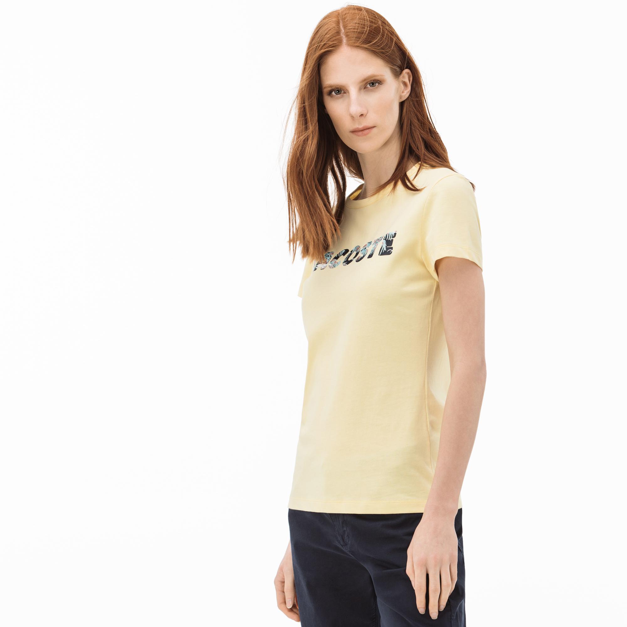 Lacoste Kadın Lacoste Baskılı Sarı T-Shirt
