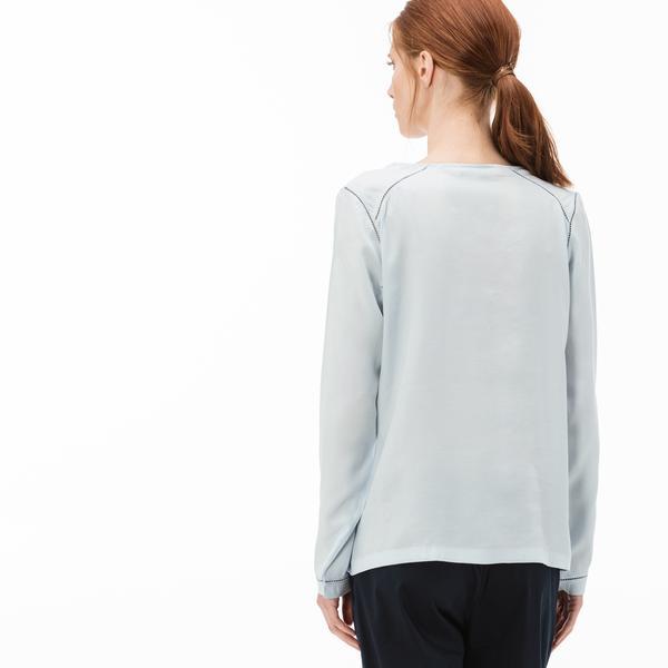 Lacoste Kadın V Yaka Mavi Uzun Kollu Bluz
