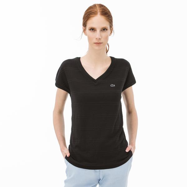 Lacoste Kadın Çizgili V Yaka Siyah T-Shirt