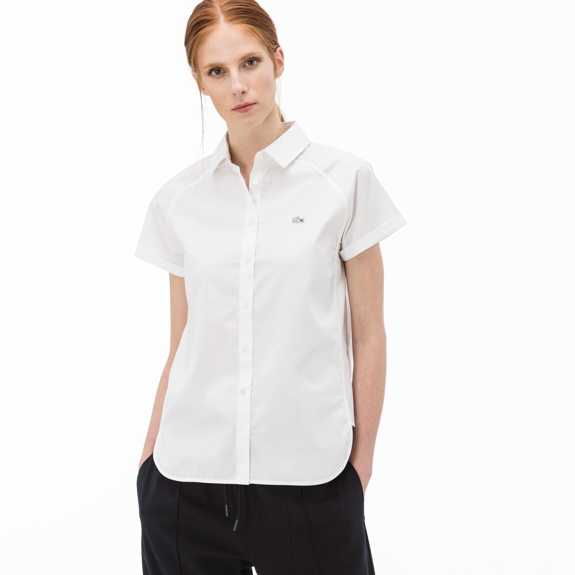 Lacoste Kadın Kısa Kollu Beyaz Gömlek