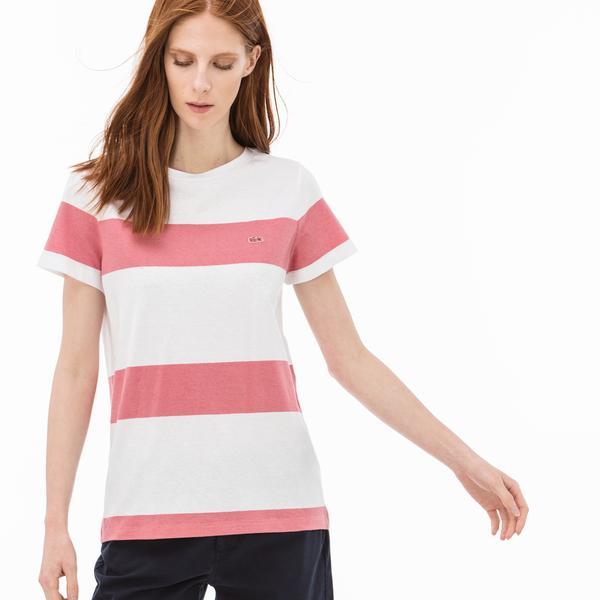 Lacoste Kadın Çizgili Beyaz-Pembe T-Shirt