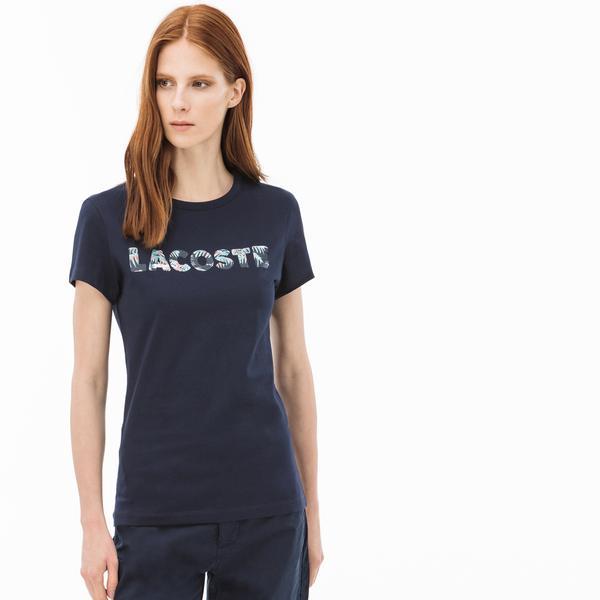 Lacoste Kadın Lacoste Baskılı Bisiklet Yaka Lacivert T-Shirt