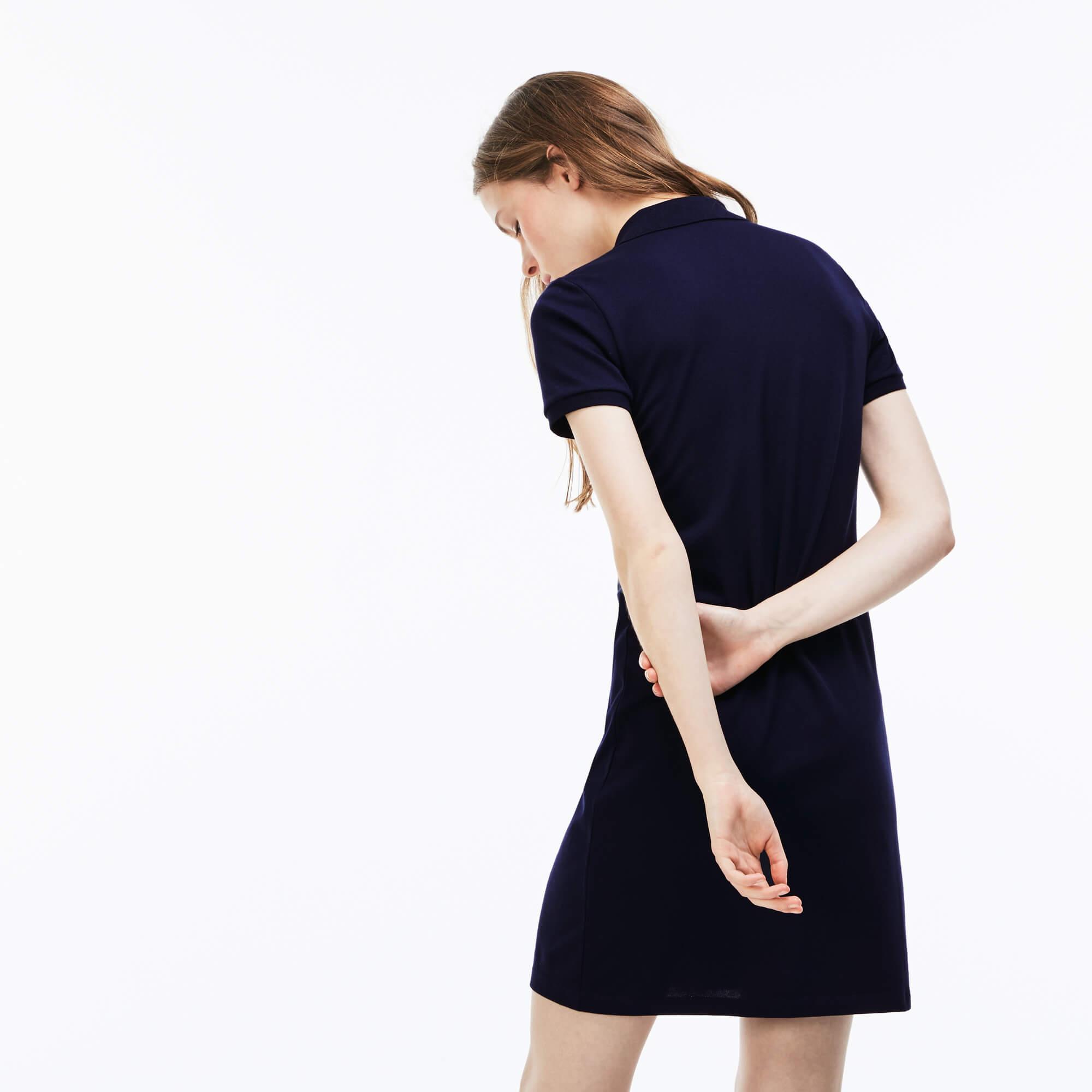 Lacoste Kadın Slim Fit Polo Yaka Lacivert Elbise