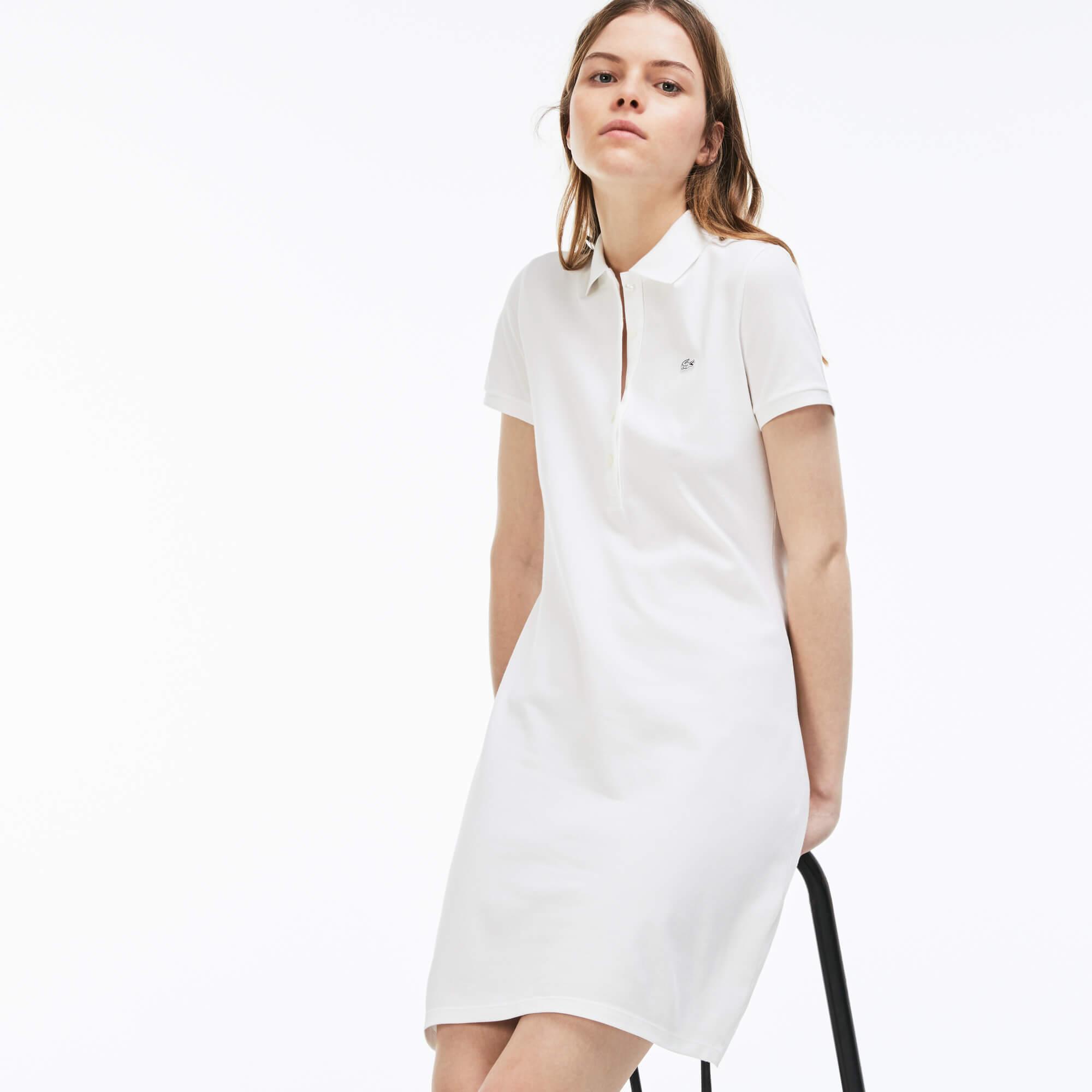 Lacoste Kadın Slim Fit Polo Yaka Beyaz Elbise