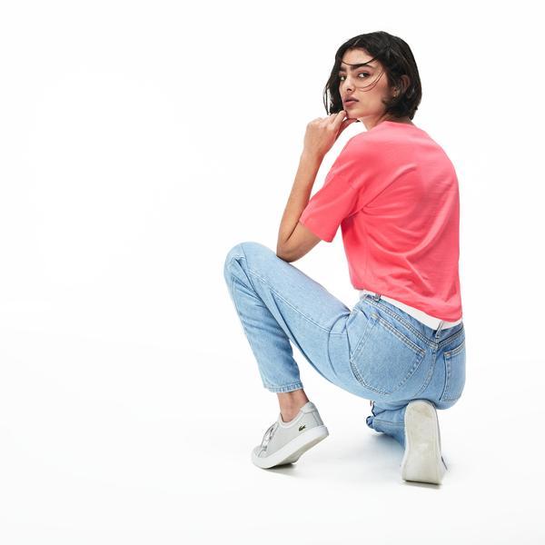 Lacoste Kadın V Yaka Pembe T-Shirt