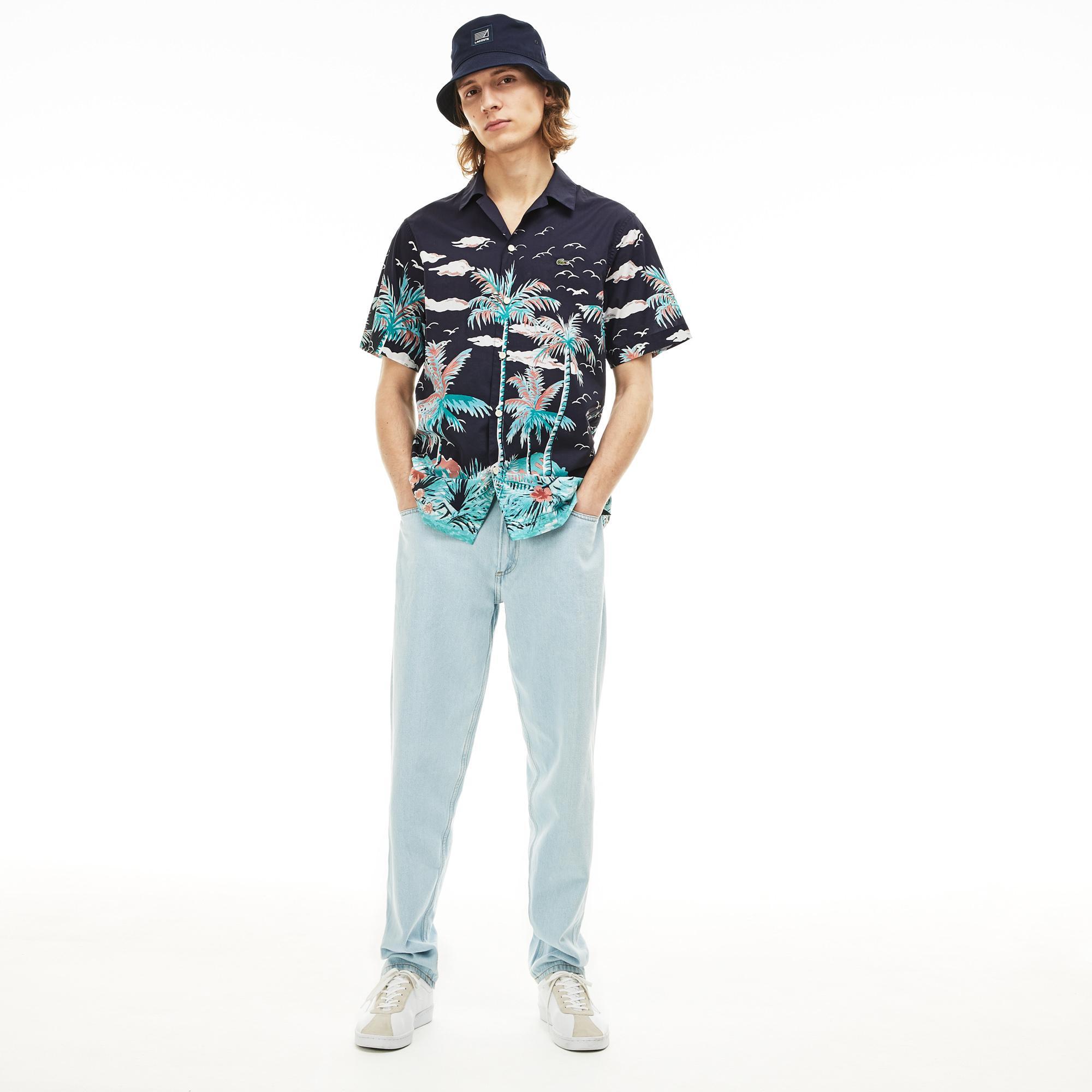 Lacoste Erkek Regular Fit Desenli Lacivert Kısa Kollu Gömlek