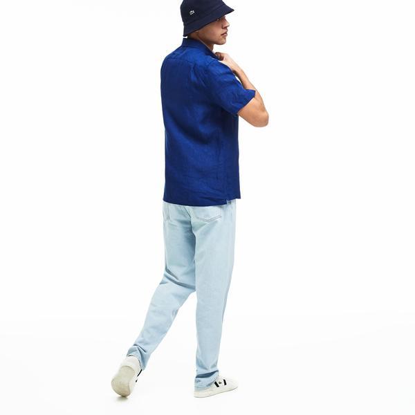 Lacoste Erkek Regular Fit Keten Lacivert Kısa Kollu Gömlek