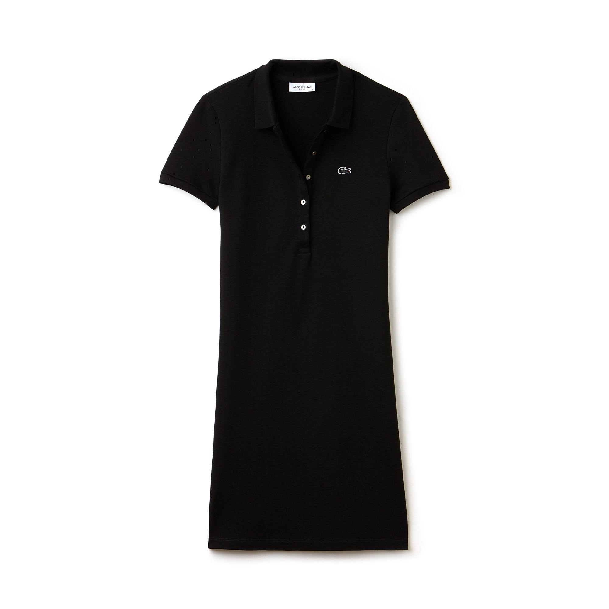Lacoste Kadın Slim Fit Polo Yaka Siyah Elbise