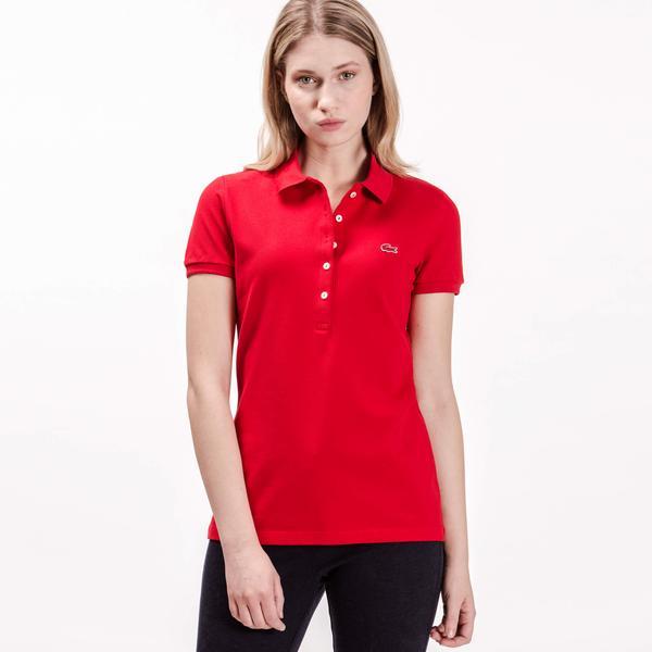 Lacoste Kadın Slim Fit Kırmızı Polo