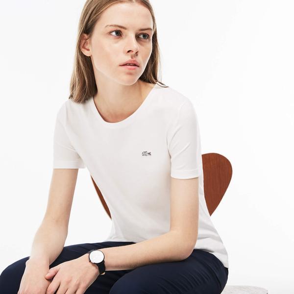 Lacoste Kadın Regular Fit Beyaz T-Shirt