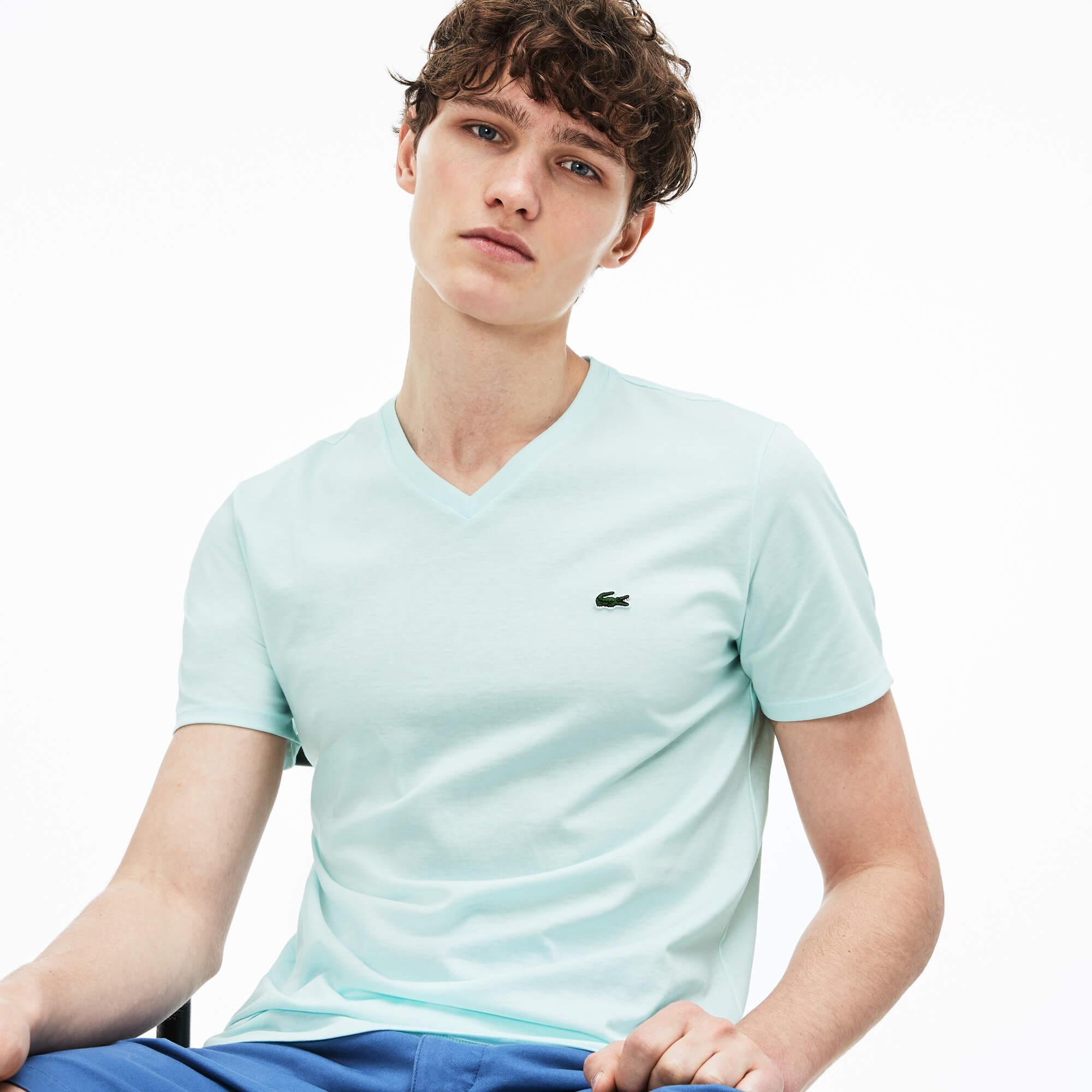 Lacoste Erkek Regular Fit V Yaka Mavi T-Shirt