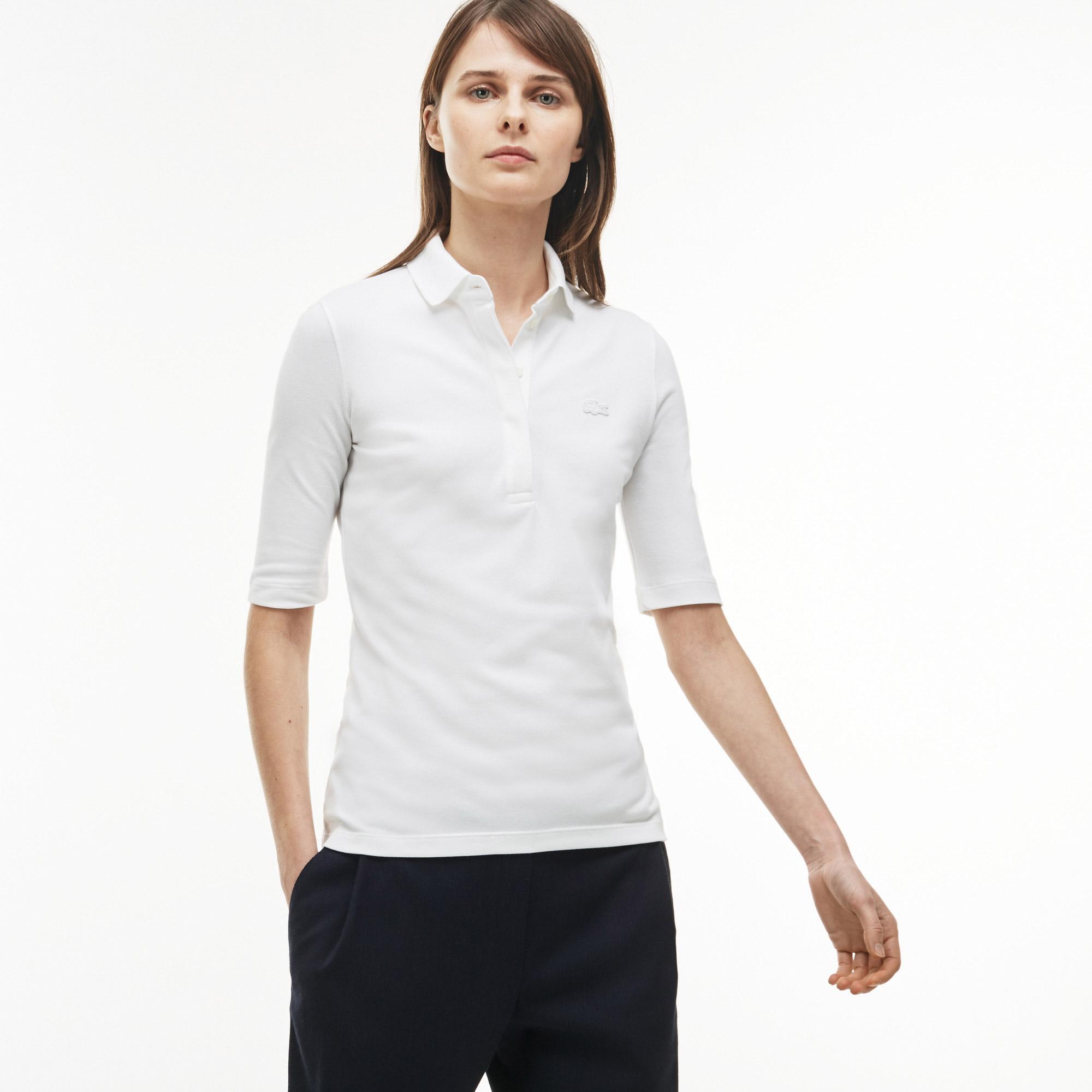 Lacoste Kadın Slim Fit Truvakar Kollu Beyaz Polo
