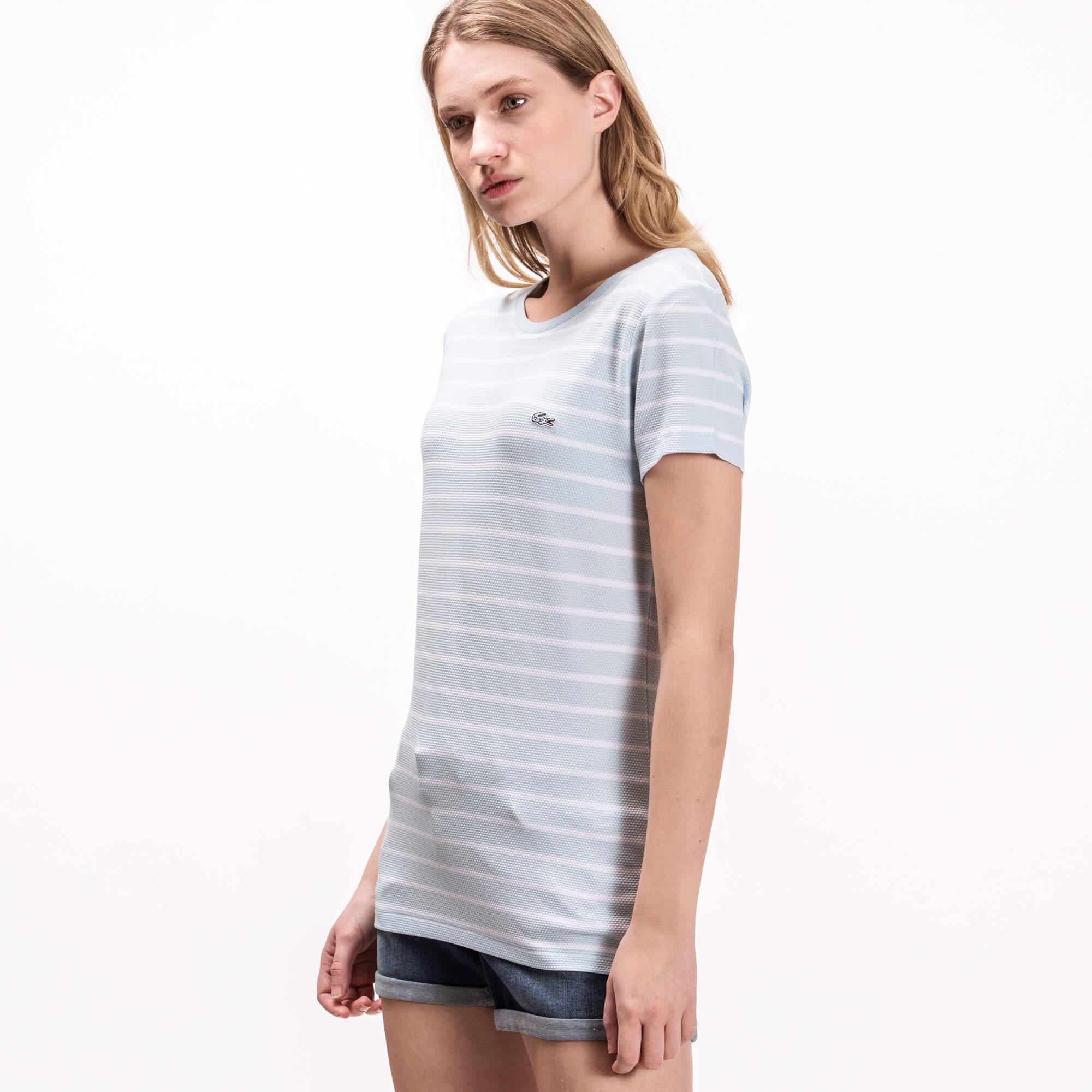 Lacoste Kadın Çizgili Mavi T-Shirt