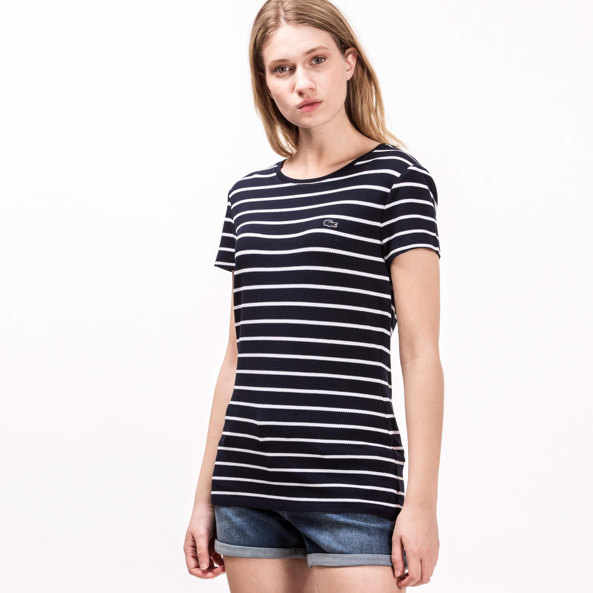 Lacoste Kadın Çizgili Lacivert T-Shirt
