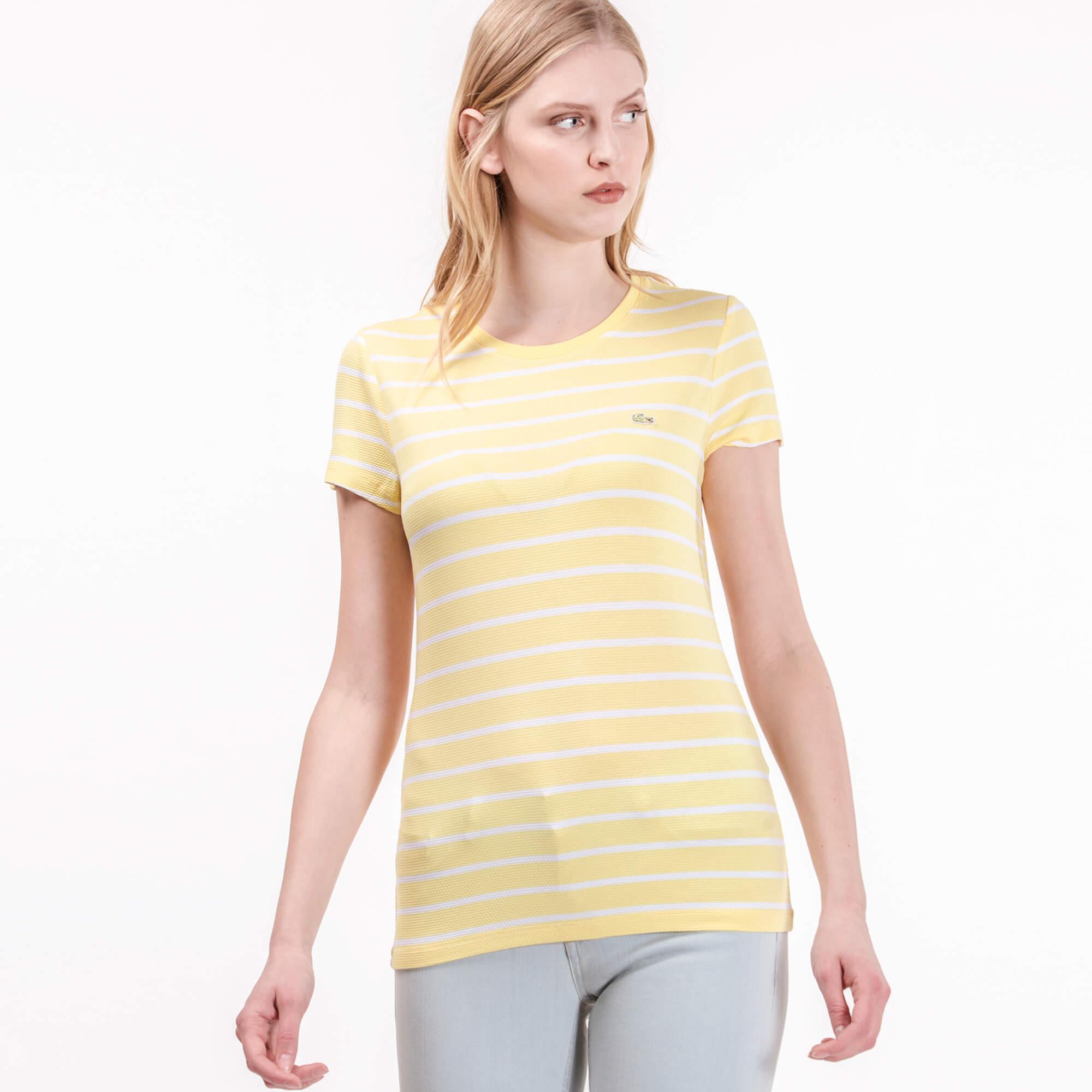 Lacoste Kadın Çizgili Sarı T-Shirt