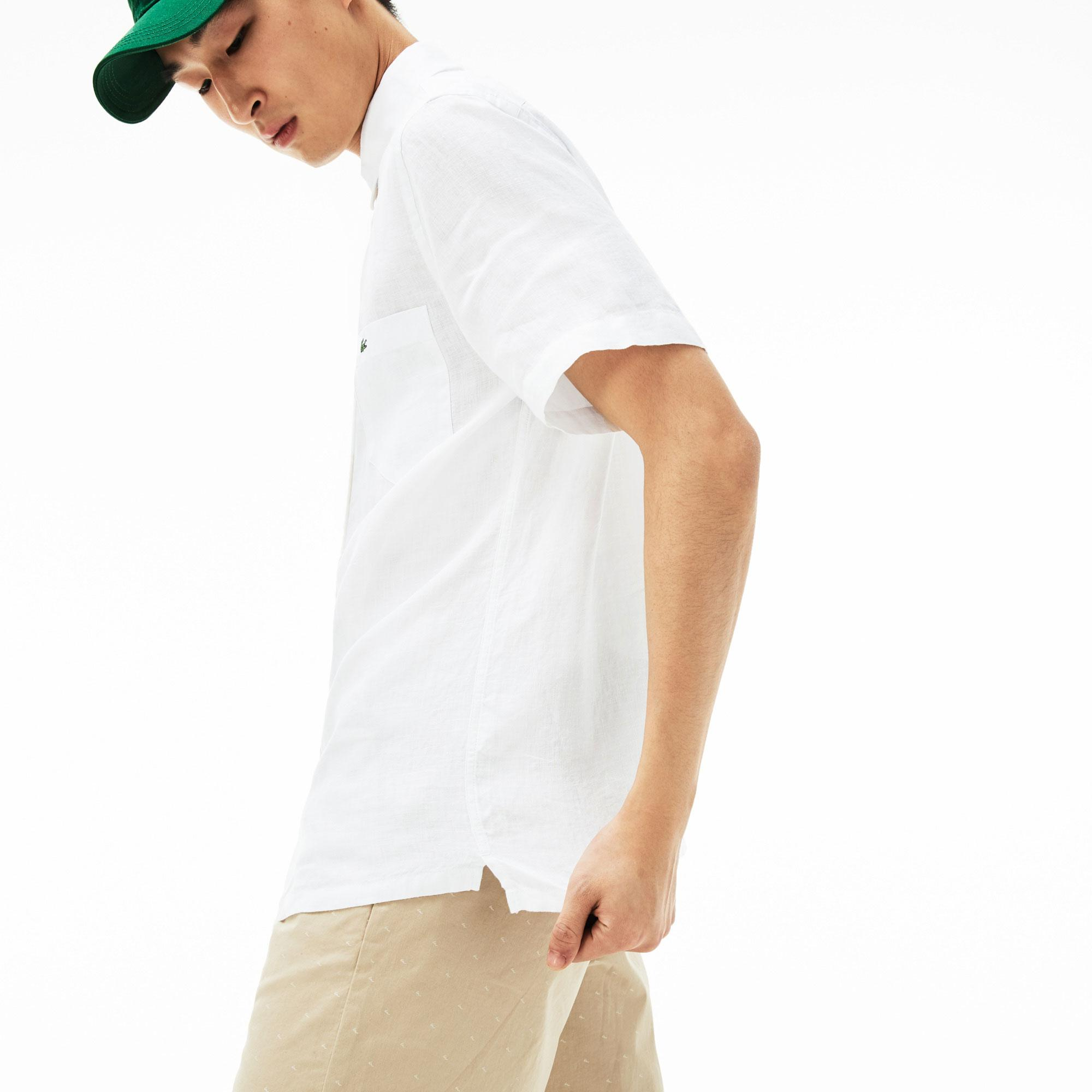 Lacoste Erkek Regular Fit Keten Beyaz Kısa Kollu Gömlek