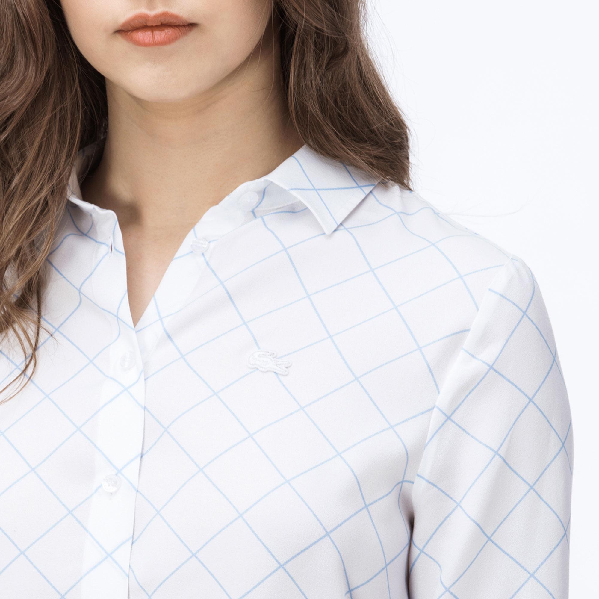 Lacoste Kadın Kareli Açık Mavi Gömlek
