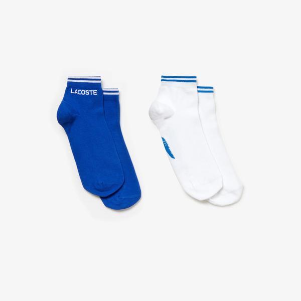 Lacoste Unisex Mavi - Beyaz 2'li Çorap