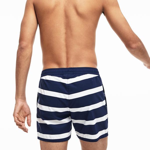 Lacoste Erkek Beyaz - Lacivert Renk Bloklu Şort Mayo