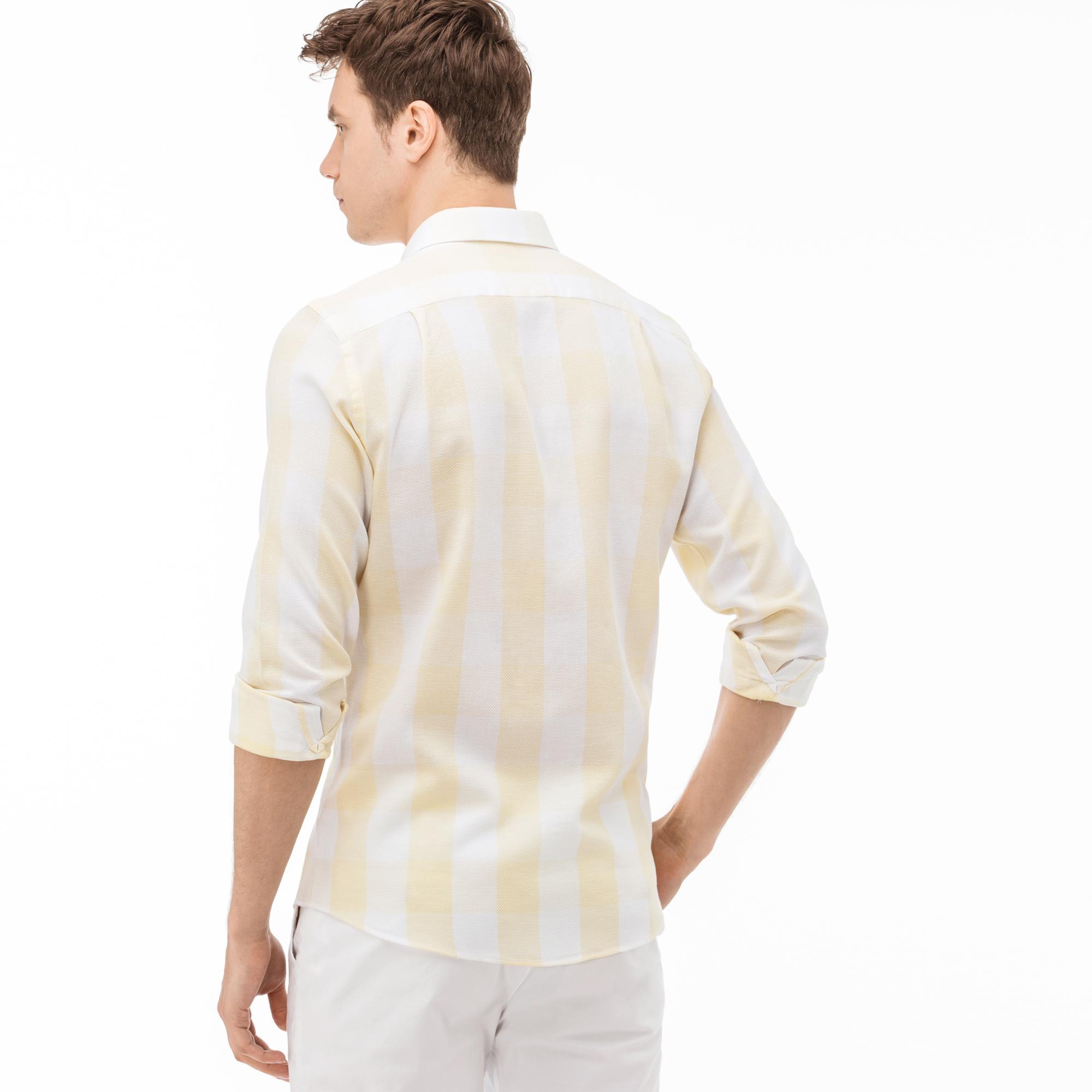 Lacoste Erkek Slim Fit Ekose Sarı-Beyaz Gömlek