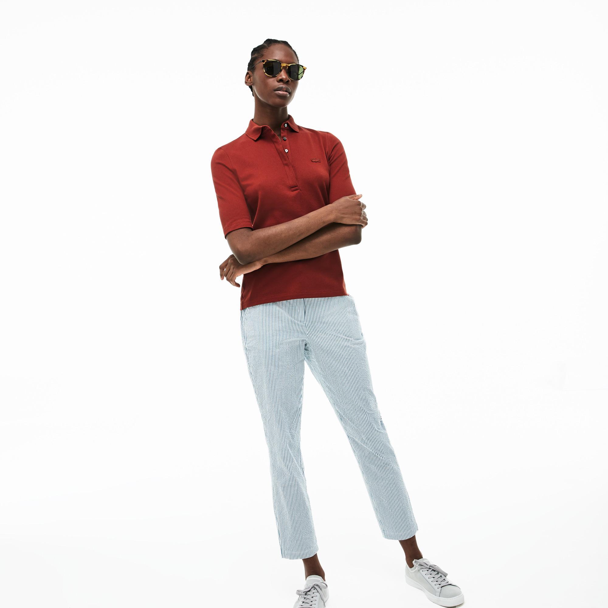 Lacoste Kadın Slim Fit Koyu Kiremit Polo