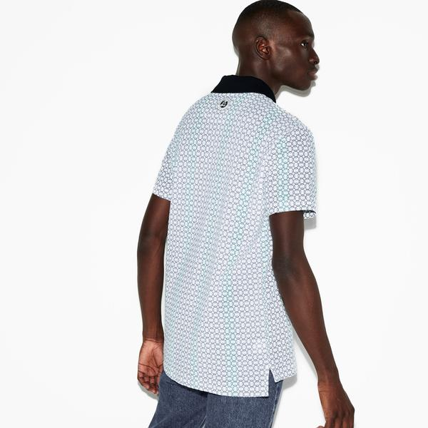 Lacoste Roland Garros Erkek Blok Desenli Mavi Polo