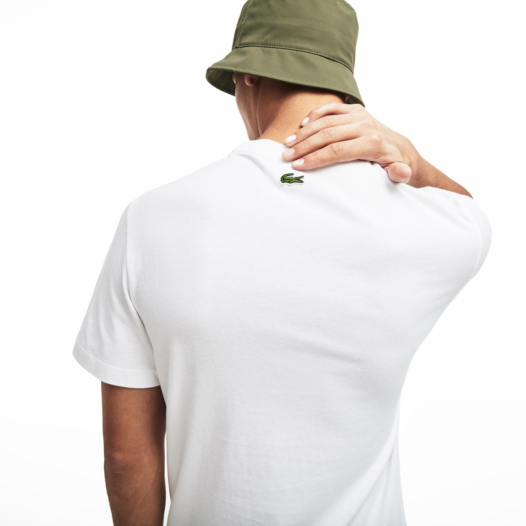 Lacoste Erkek Regular Fit Lacoste Baskılı Beyaz T-Shirt
