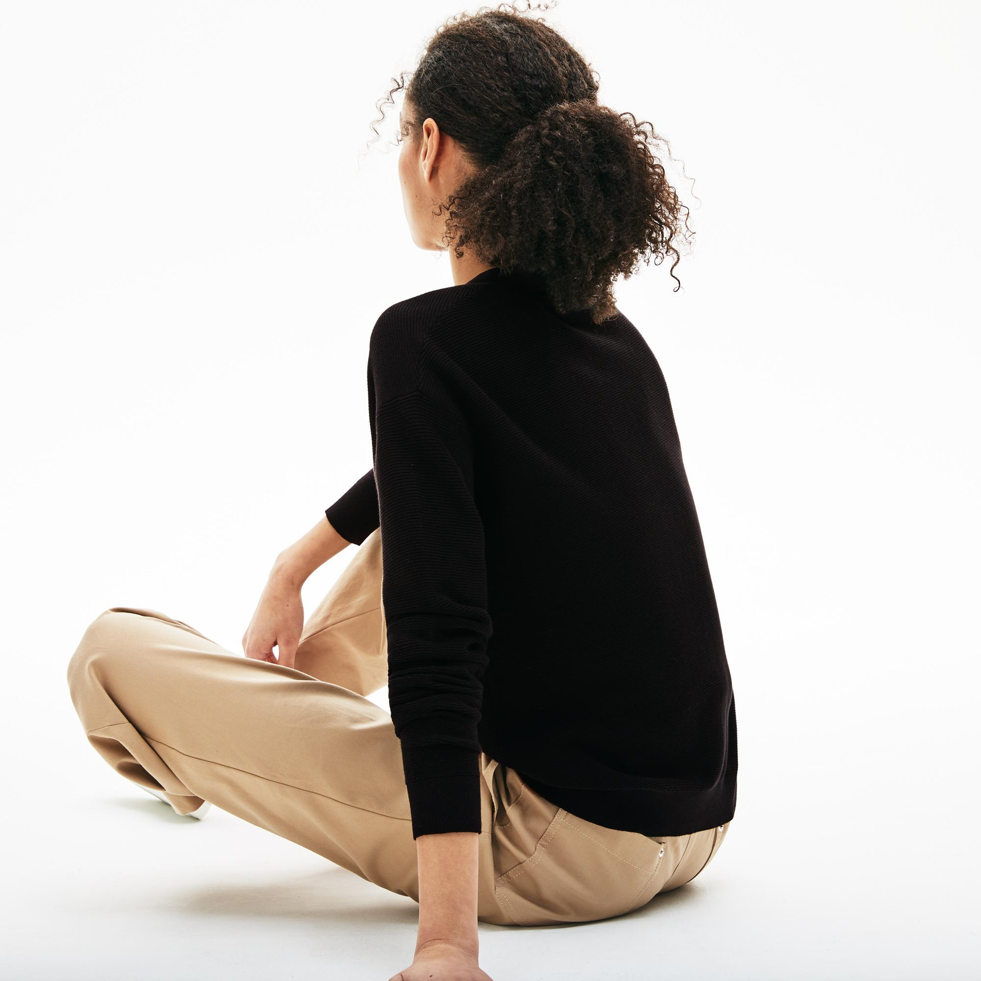 Lacoste Kadın V Yaka Siyah Triko Hırka