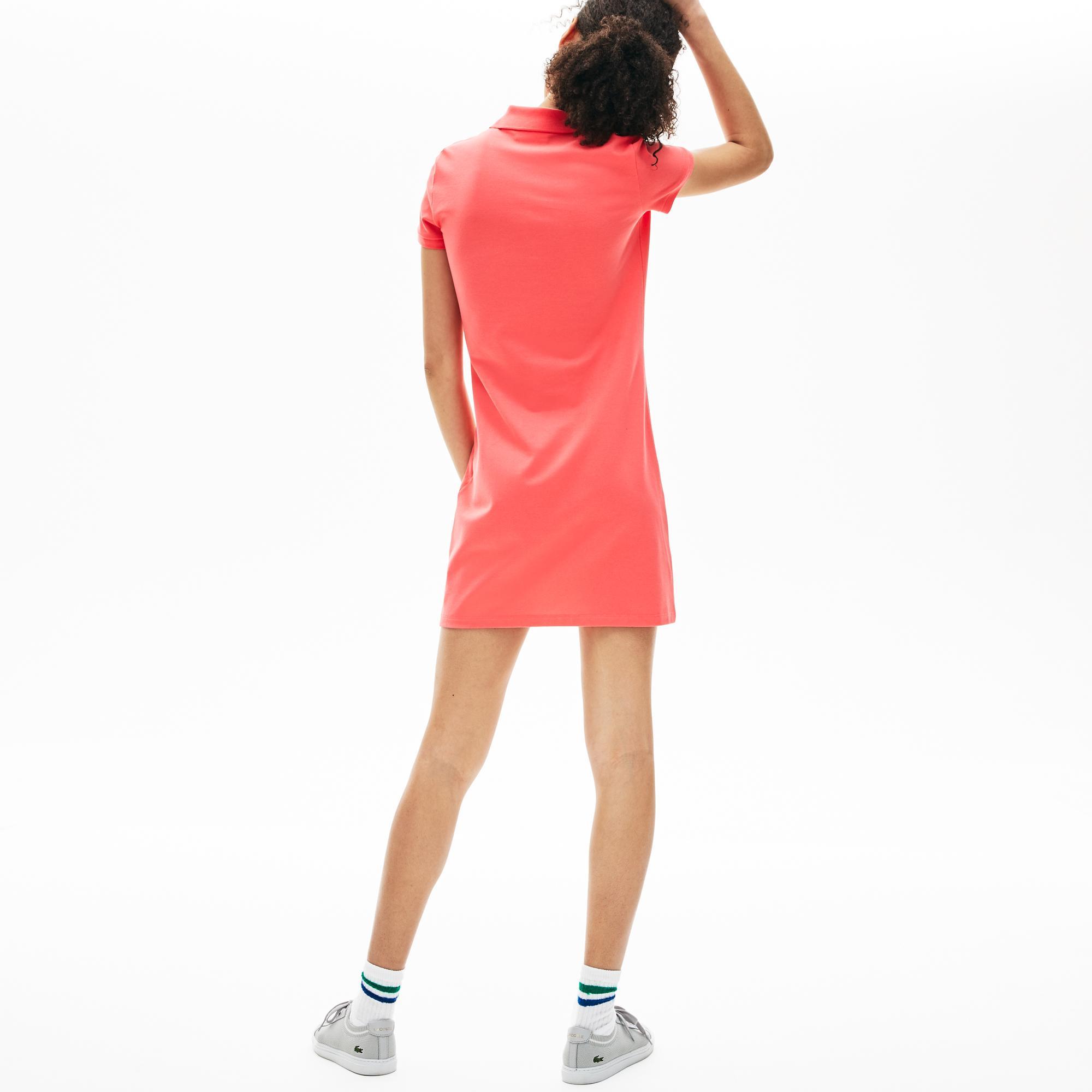 Lacoste Kadın Slim Fit Slim Fit Polo Yaka Pembe Elbise