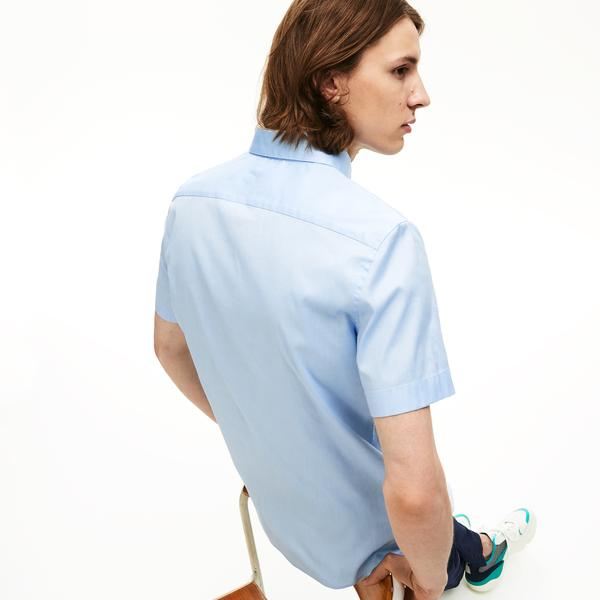 Lacoste Erkek Slim Fit Mavi Kısa Kollu Gömlek