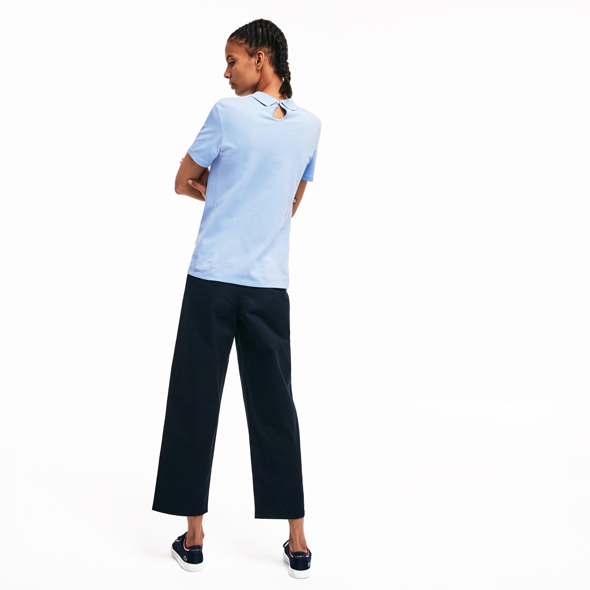 Lacoste L!ve Kadın Slim Fit Mavi Polo