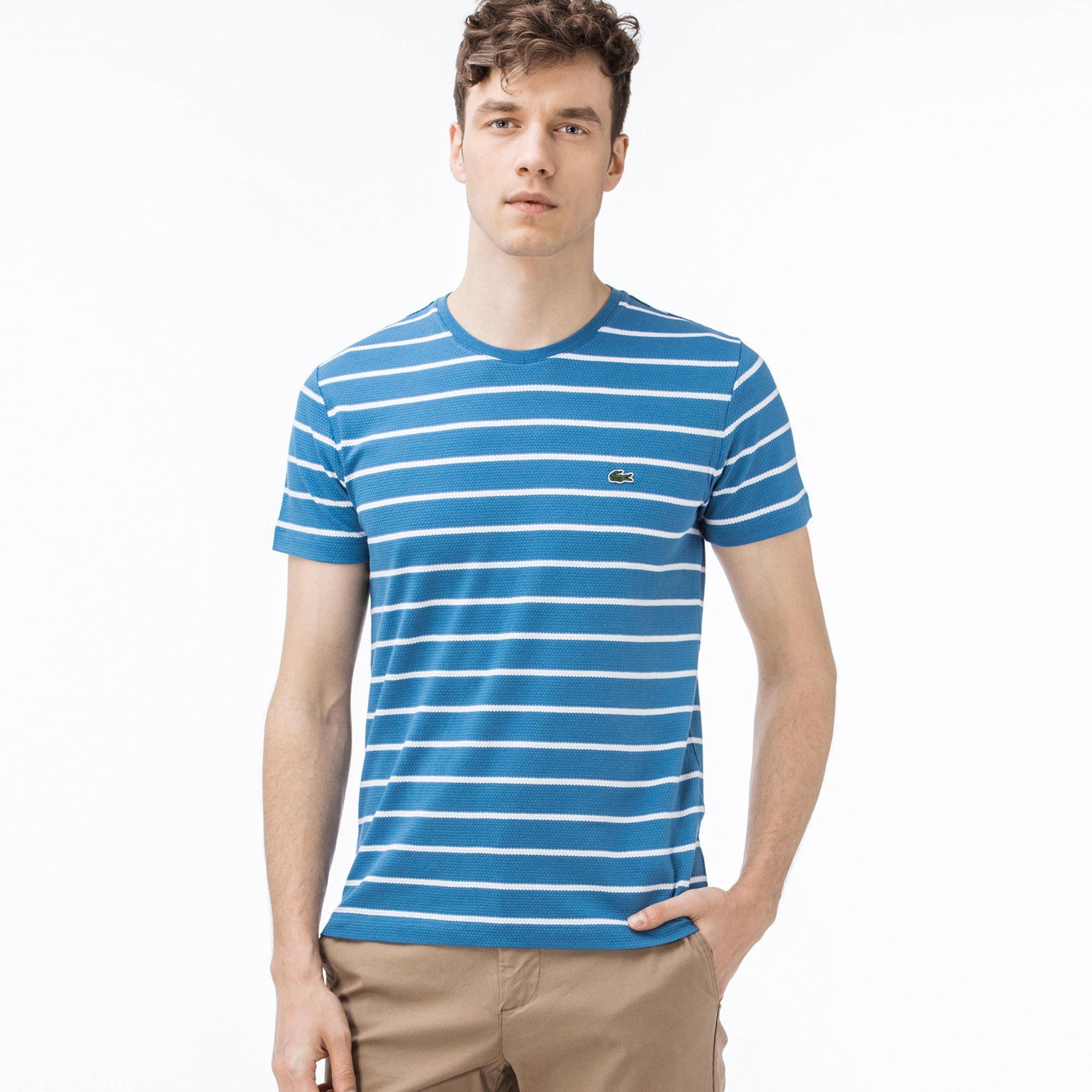 Lacoste Erkek Slim Fit Desenli Mavi T-Shirt