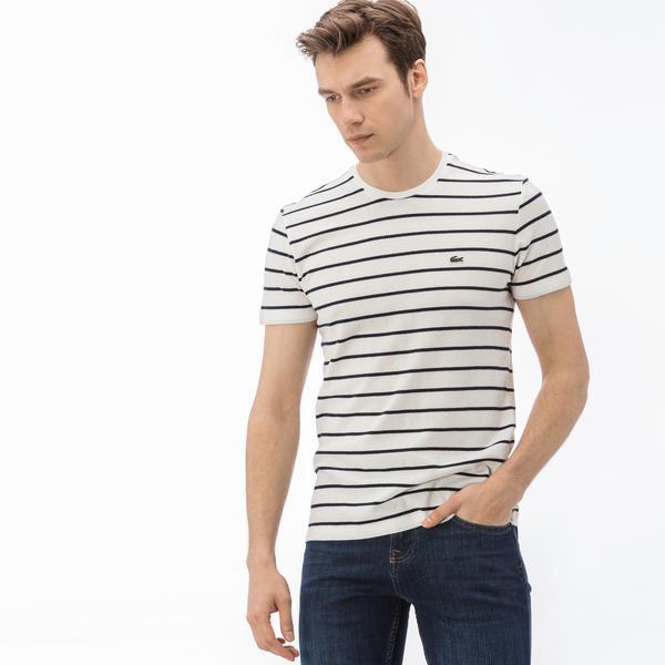 Lacoste Erkek Slim Fit Desenli Beyaz T-Shirt