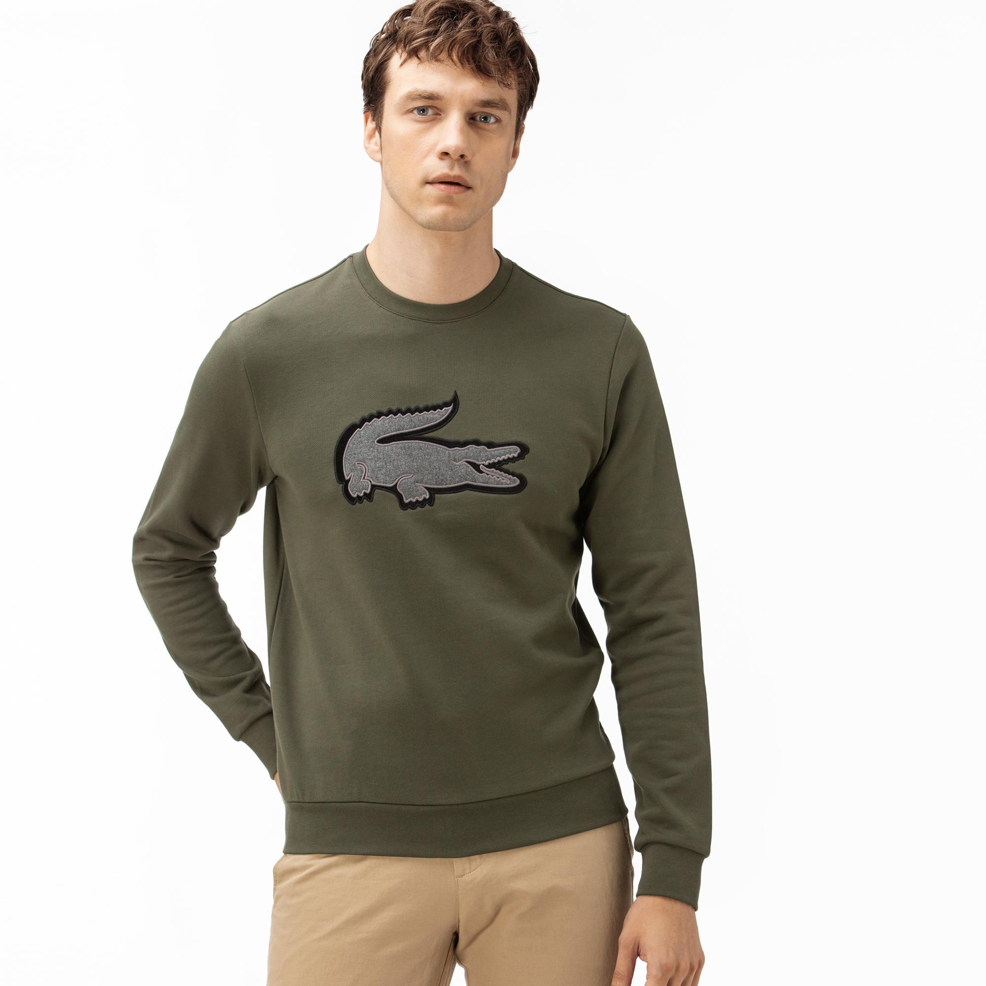 Lacoste Erkek Nakışlı Bisiklet Yaka Yeşil Sweatshirt